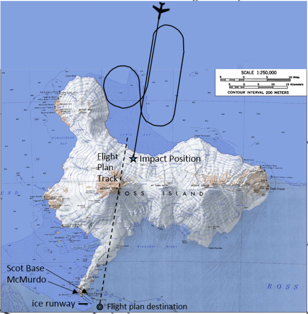 Flight path of Flight 901. Flight Air New Zealand 901 crash map.PNG