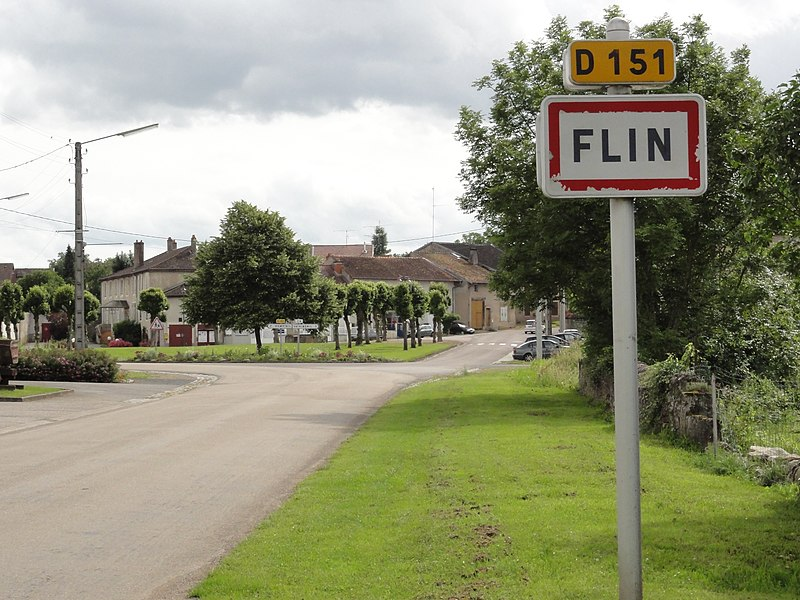 Flin (M-et-M) city limit sign Flin