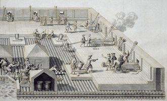 Crossing of the Düna - Swedish floating battery, similar used at Düna