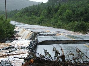 Tropical Storm Chantal (2007) - Rattling Brook in Ship Harbour, NL during the flooding.