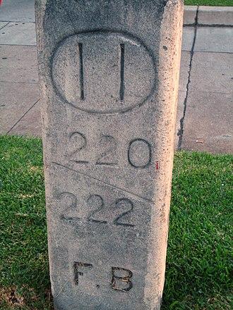 Foothill Boulevard Milestone (Mile 11) - Image: Foothill Boulevard Milestone (Mile 11)