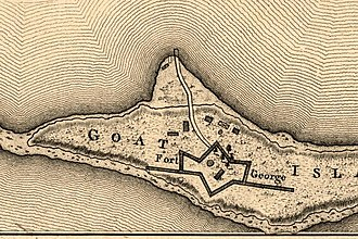 Harbor Defenses of Narragansett Bay - Fort George in 1777, from a map by Charles Blaskowitz.