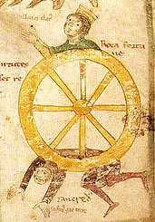 Tankred of Lecce under the wheel of Fortuna while his rival Emperor Henry VI.  triumphs, illustration from Liber ad honorem Augusti, 1196