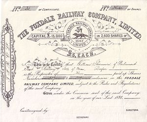 Foxdale Railway - Share of the Foxdale Railway Company Ltd, issued 1888