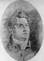 Francis Greenway appears as a chubby-faced man with an aquiline nose and his hair carefully arranged in a windswept style. He is looking inspired.