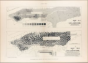 """New York State Tenement House Act - These two maps of the City of New York from the Tenement House Committee of 1894 make a careful examination into the tenement houses of the city of New York, including all """"phases of the so-called tenement-house question in the city that can affect the public welfare."""""""