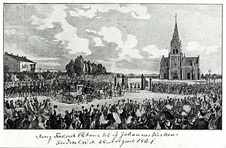 Sankt Hans Torv - King Frederik VII's arrival for the consecration ceremony of St. John's Church in 1862