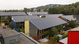 Sustainable architecture - Energy-plus-houses at Freiburg-Vauban in Germany