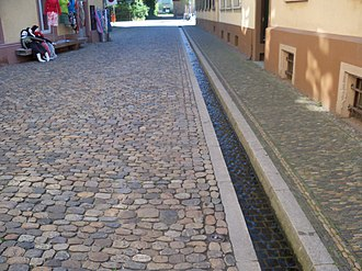 Aqueduct (water supply) - Artificial Rills, known locally as Freiburg Bächle, run through the old-town district of the German city of Freiburg im Breisgau.