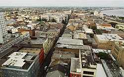 The French Quarter, looking north with Mississippi River to the right