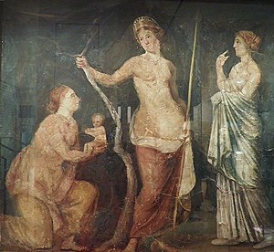 Juno (mythology) - A woman, perhaps Lucina, goddess of childbirth, presents the goddess of love, Aphrodite (Roman Venus) with the beautiful infant Adonis.