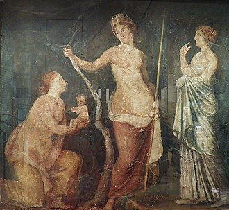 Juno (mythology) - A woman, perhaps Juno Lucina, goddess of childbirth, presents the goddess of love, Aphrodite (Roman Venus) with the beautiful infant Adonis.