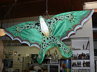 Silverton, Oregon - A frog kite hangs from the ceiling of O'Briens, a coffee house on Water Street