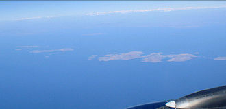 Arkoi - Front, left to right: Arkoi, Leipsoi, Leros. Back, left to right: Agathonisi, Farmakonisi and the Turkey coastline.