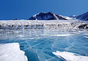 Blue ice covering Lake Fryxell in the Transant...
