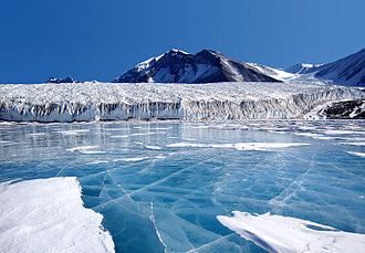 Meltwater - Refrozen glacial meltwater from the Canada Glacier, in Antarctica