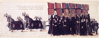 State funerals in the United Kingdom - Funeral of Elizabeth I, 1603. Horse-drawn bier flanked, as in modern times, by Gentlemen-pensioners carrying their axes 'reversed'. The coffin has an effigy of the late Queen on top of it, and is flanked by knights holding banners and a canopy.