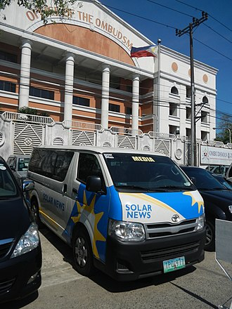 Solar Entertainment Corporation - A Toyota HiAce van used by Solar News parked at the Office of the Ombudsman.
