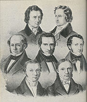The Göttingen Seven. Top row: Wilhelm Grimm, Jacob Grimm. Middle Row:Wilhelm Eduard Albrecht, Friedrich Christoph Dahlmann, Georg Gottfried Gervinus. Bottom Row:Wilhelm Eduard Weber, Heinrich Georg August Ewald.