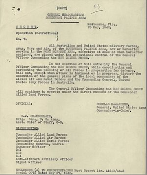 New Guinea Force - GHQ Southwest Pacific Area Operational Instruction No.7