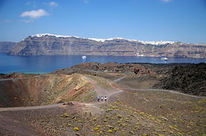 Nea Kameni - View of Santorini from the Nea Kameni crater
