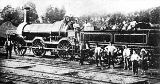 """Locomotives of the Great Western Railway - GWR Ariadne class loco """"Nemesis"""", at Trowbridge, not later than 1872"""