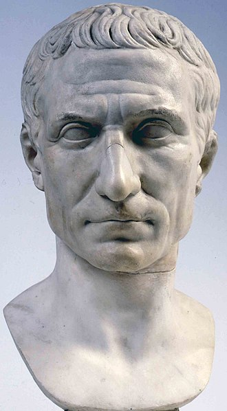 Assassination of Julius Caesar - Bust of Julius Caesar, posthumous portrait in marble, 44-30 BC, Museo Pio-Clementino, Vatican Museums.