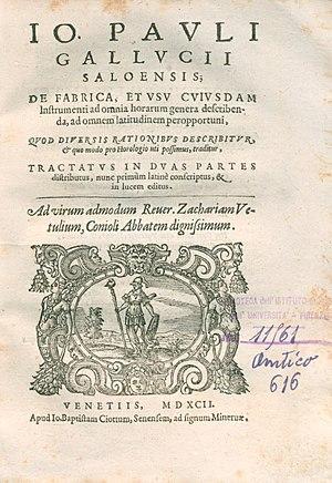 Sector (instrument) - De fabrica et usu cuiusdam instrumenti ad omnia horarum genera describenda (1592), where Giovanni Paolo Gallucci is among the first to describe the sector