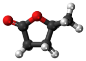 Ball-and-stick model of the γ-valerolactone molecule