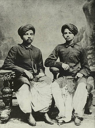 Mahatma Gandhi - Gandhi (right) with his eldest brother Laxmidas in 1886.