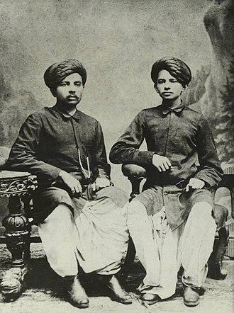 Mahatma Gandhi - Gandhi (right) with his eldest brother Laxmidas in 1886.