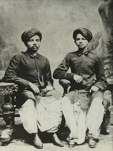 Gandhi (right) with his eldest brother Laxmidas in 1886. Gandhi and Laxmidas 2.jpg
