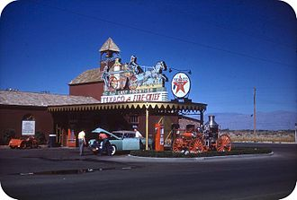 Las Vegas Strip - The Strip in the 1940s. Pictured is the gas station of the Hotel Last Frontier, the second hotel on the Strip.