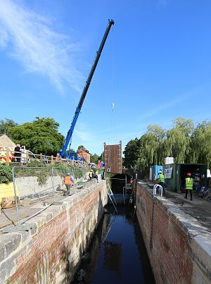 Thames and Severn Canal - Gates being fitted to Bowbridge Lock as part of phase 1a