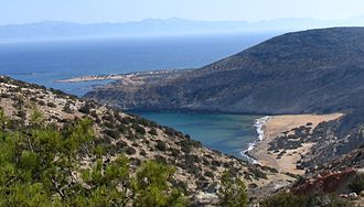 Gavdos - Potamos-beach on Gavdos with the island of Crete in the background.