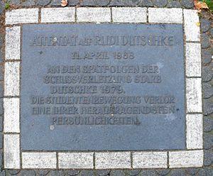 Rudi Dutschke - Memorial plate for Rudi Dutschke at Kurfürstendamm and Joachim-Friedrich Straße in Berlin, Germany