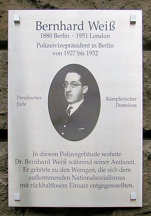 Bernhard Weiß (police executive) - Memorial Plaque at Weiss's home at Kaiserdamm 1, in Berlin-Charlottenburg