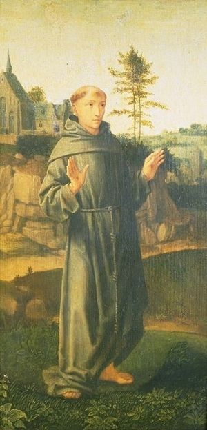 Prayer of Saint Francis - St. Francis on a painted altarpiece by Gerard David (early 1500s)