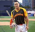 Giancarlo Stanton holds up the T-Mobile -HRDerby trophy. (28554230205).jpg