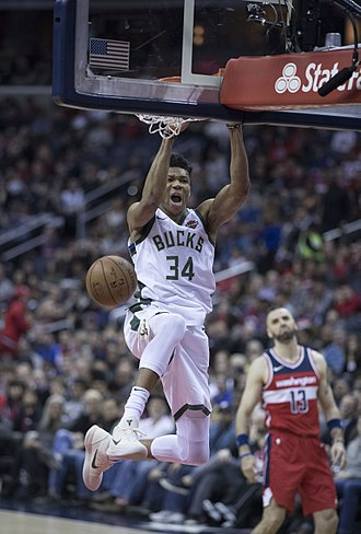 Giannis Antetokounmpo - Antetokounmpo dunking against the Washington Wizards in 2018.