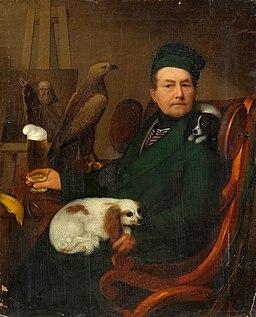 Giebelhausen Herrenportrait mit Hunden