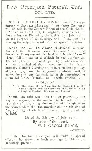 The official announcement of the club's change of name in 1913 Gills1913.jpg