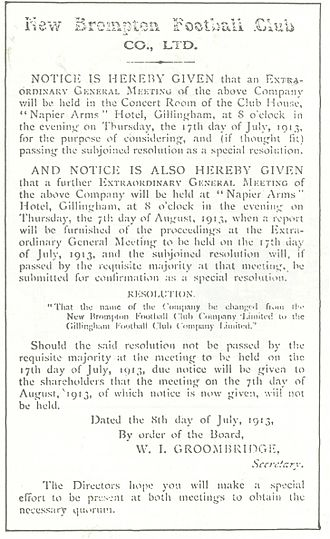 Gillingham F.C. - The official announcement of the club's change of name in 1913