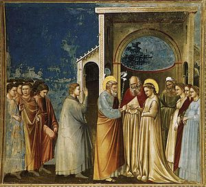Espousals of the Blessed Virgin Mary - Image: Giotto di Bondone No. 11 Scenes from the Life of the Virgin 5. Marriage of the Virgin WGA09183