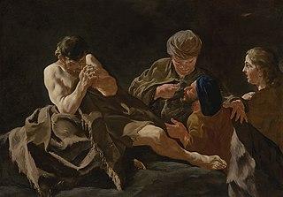 Eliphaz, Bildad and Zophar consoling Job
