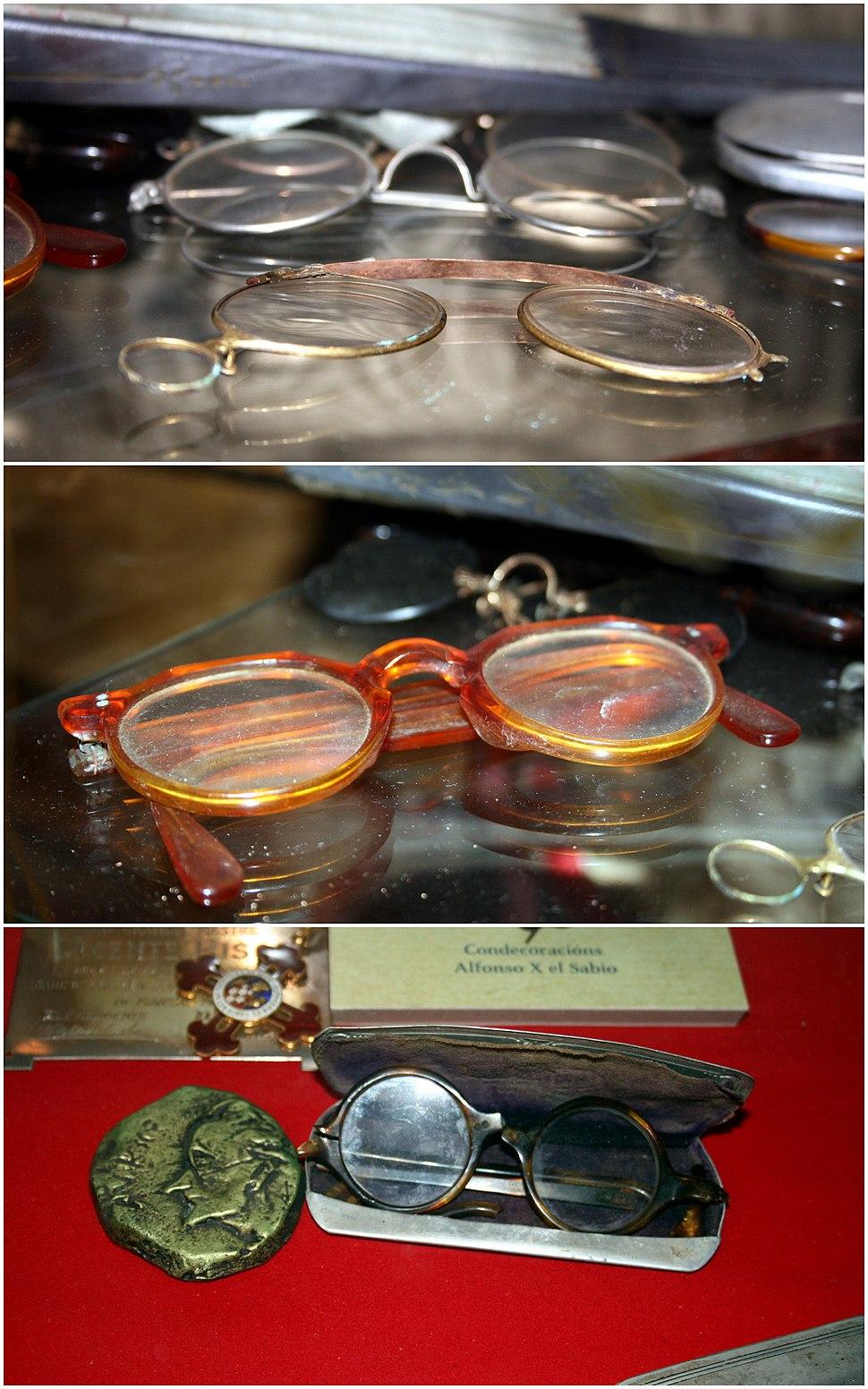 Glasses of Vicente Risco in his museum in Allariz, Ourense, Galicia (triptych)