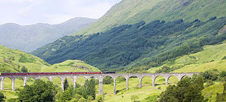 Glenfinnan - Glenfinnan Viaduct and steam train at Glenfinnan