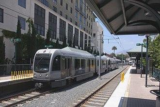 Del Mar station - Gold Line train at Del Mar station in 2013