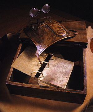 Seer stone (Latter Day Saints) - A 21st-century reconstruction of the golden plates and the Urim and Thummim connected to a breastplate, based on a description given by Joseph Smith's mother.