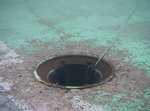 Drain (plumbing) - Underwater view of drain, showing vortex-formation phenomenon